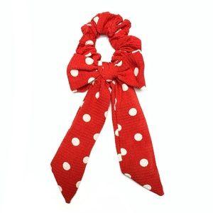 Red & White Polka Dot Scrunchie Hair Tie Bow Scarf